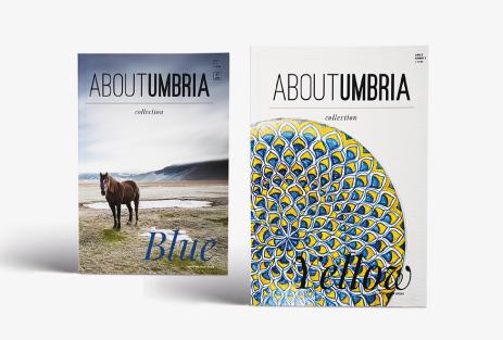 Due riviste AboutUmbria, Blue e Yellow